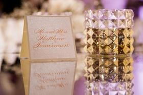 wedding escort card mirror table stud candle votive white gold modern wedding