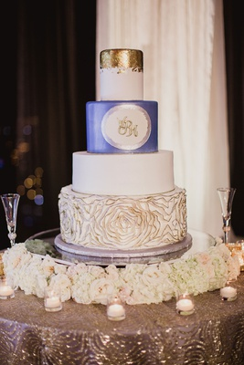 White wedding cake blue layer gold layer with gold tip rosette texture on bottom tier