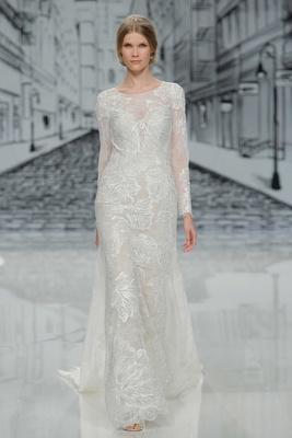 Justin Alexander Spring Summer 2017 long sleeve wedding dress lace pattern illusion back