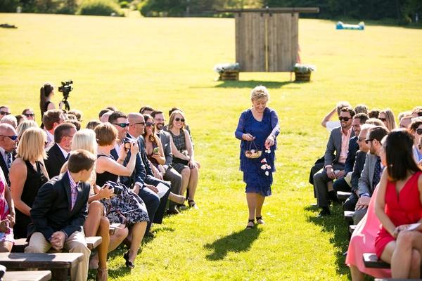 grandmother flower girl outdoor wedding blue dress
