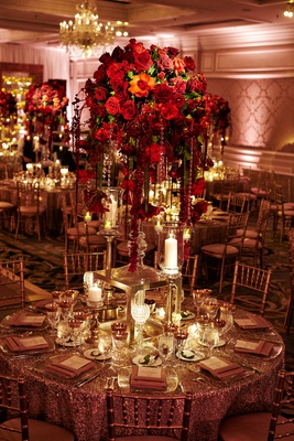 Jewish Ceremony Opulent Reception With Red Roses And Gold Details