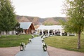 Aspen Colorado wedding ceremony Chaparral Ranch tent wedding lanterns white flowers