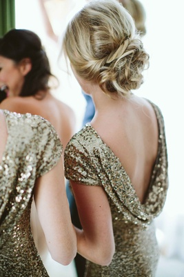 gold drape-back gowns cowl back updo bridesmaid short sleeves