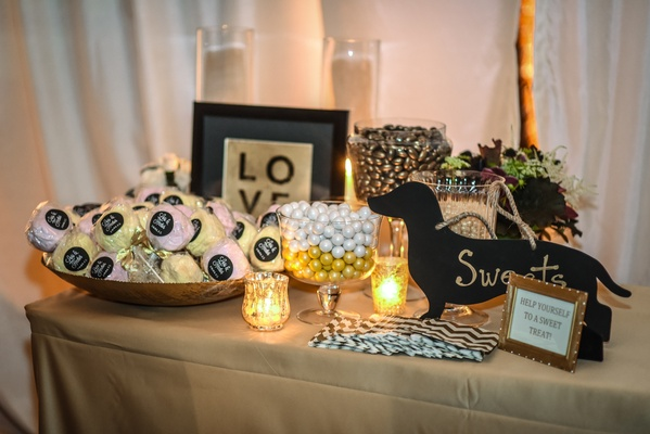 wedding sweets table with silhouette dachshund sign Train bassist Hector Maldonado wedding