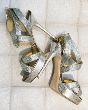 Strappy Jimmy Choo metallic wedding heels
