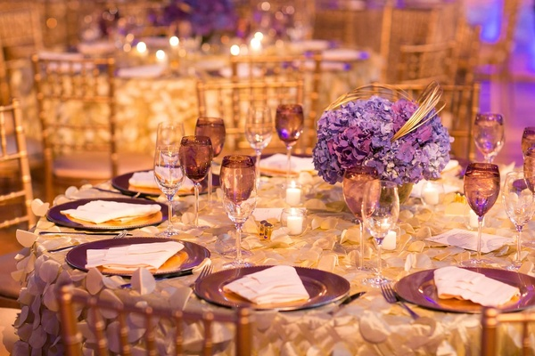 ... wedding reception table with purple hydrangea centerpieces and plum dinnerwear ... : wedding reception dinnerware - Pezcame.Com