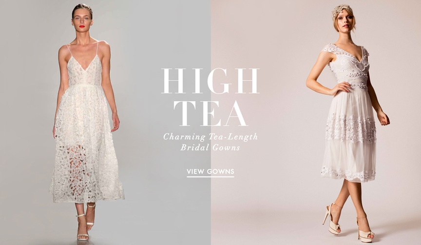 Tea length wedding dresses from fall 2016 bridal collections