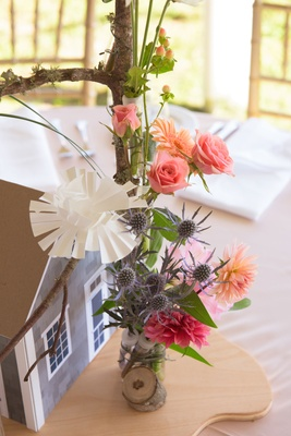 Rustic wedding decoration centerpiece branch with thistle paper flowers pink roses orange daisy