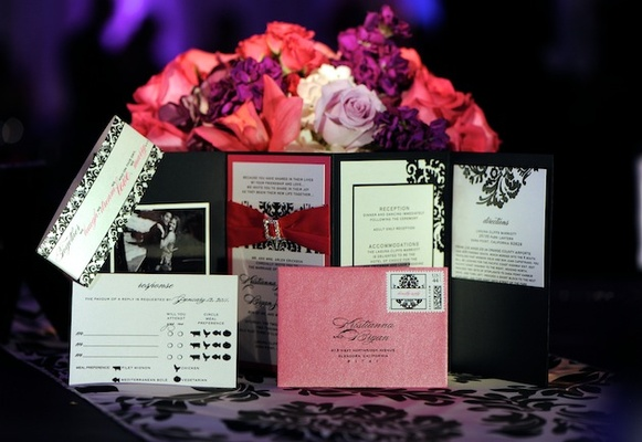 Four-fold invitation suite with pink envelope