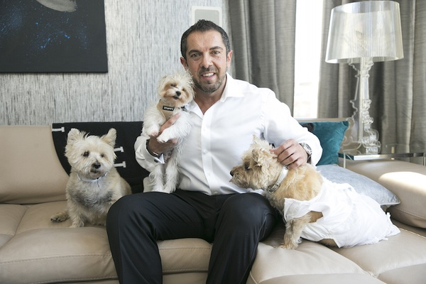 Groom in white button down with black pants and three little dogs, one wears a white dress