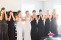 bridesmaids in black dresses katie may, maids of honor in white dresses, bridesmaid first look