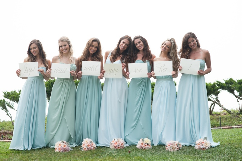 Blue and seafoam bridesmaid dresses Karena Dawn