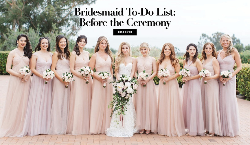 6 tasks for bridesmaids before the vow exchange begins.