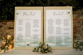 wedding reception please find your seat seating chart watercolor flower design alphabetized