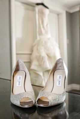 jimmy choo sparkly wedding peep-toe pumps