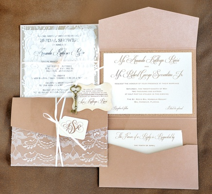 light brown tan wedding invitation suite with lace details