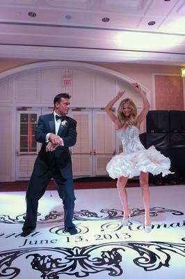 Joanna Krupa and Romain Zago dance at wedding reception