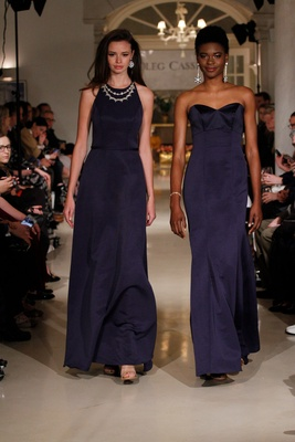 Oleg Cassini Fall 2018 collection spring 2019 bridesmaid dress high neck strapless navy blue