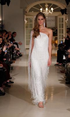 Oleg Cassini Fall 2018 bridal collection spring 2019 couture dress fringe one shoulder sparkle