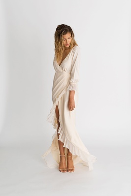 "Alexandra Grecco fall winter 2018 ""The Magic Hour"" wedding dress Parisi wrap gown ruffle hem v neck"