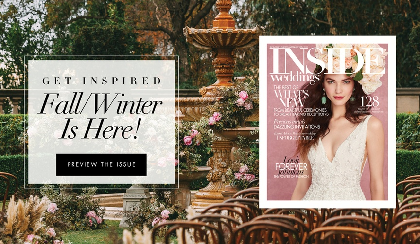 See a preview of the fall/winter 2017 issue of Inside Weddings, hitting newsstands on or before Octo