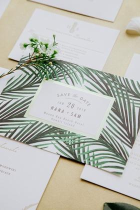 wedding invitation suite destination wedding hawaii save the date invite gold border green palm tree
