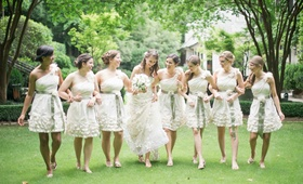 Short bridesmaid dresses with flower details