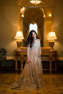 bride in elan wedding dress, long sleeve silver pakistani style