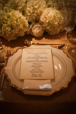 wedding reception luxury opulent decor white gold menu card design black calligraphy rose hydrangea