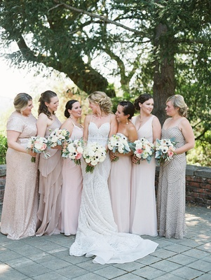 bride bridesmaids metallic blush dresses different bouquets garden roses rustic chic wedding