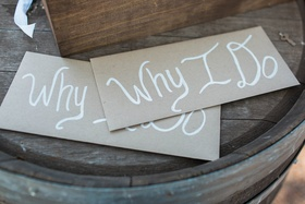 custom vow envelopes painted rustic wedding ceremony winery california