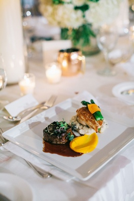 Wedding reception food steak chicken vegetables sauces elegant dish entree