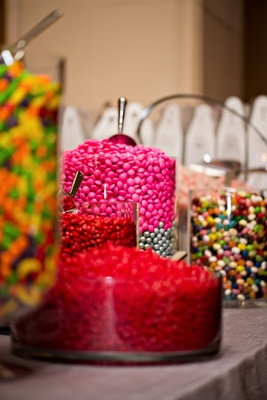jars of candy to create take-home bags