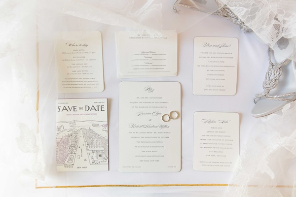 Ivory wedding invitation suite with round corners calligraphy and save the date wedding bands rings
