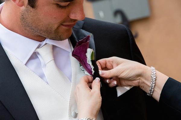 NFL quarterback Brock Osweiler wedding boutonniere purple calla lily