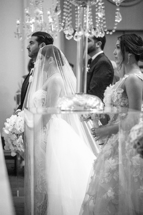 black and white photo of armenian bride and groom getting married