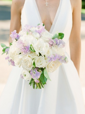 bridal bouquet with white roses and lavender sweet peas