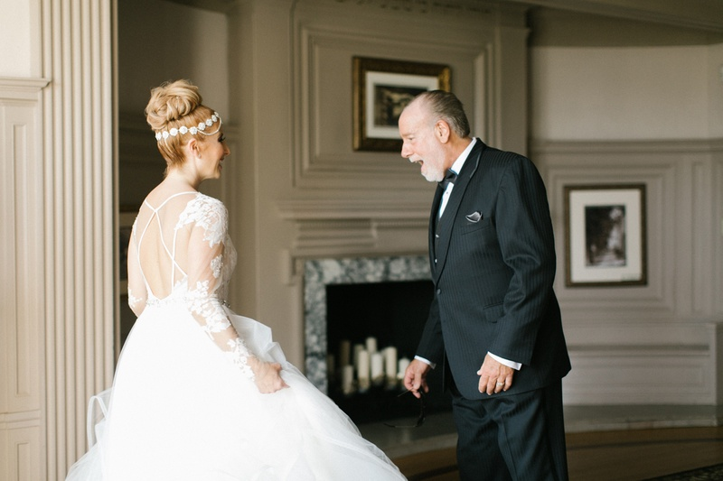 father of the bride in tuxedo gasps when he sees his daughter in hayley paige wedding dress
