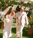 Bride and groom exit alfresco wedding in Ojai