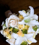 bouquet of white lilies and yellow roses