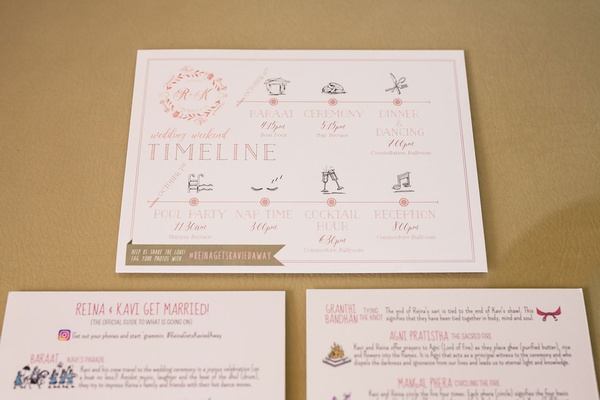 indian wedding timeline itinerary pink grey gold details