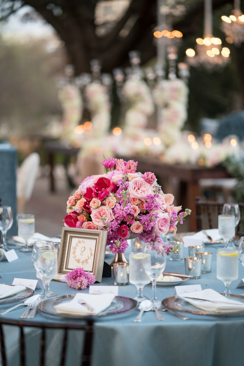 Reception Dcor Photos Pink Flowers And Blue Linens Inside Weddings