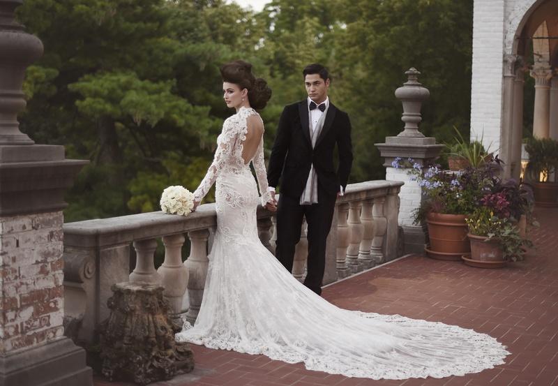 berta long sleeve lace wedding dress