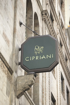 Octagonal Cipriani sign outside the Cipriani Wall Street
