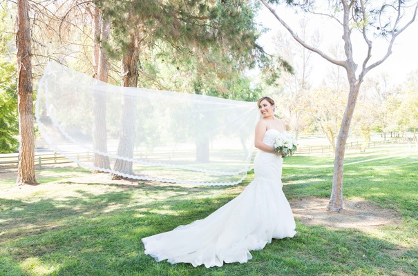 brides veil flowing in wind long chapel length catholic wedding park pictures california
