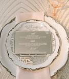 engraved mirror to act as wedding dinner menu