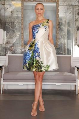 Flower print short one shoulder Romona Keveza wedding dress