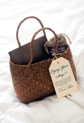 Wedding welcome basket with Jamaican coffee
