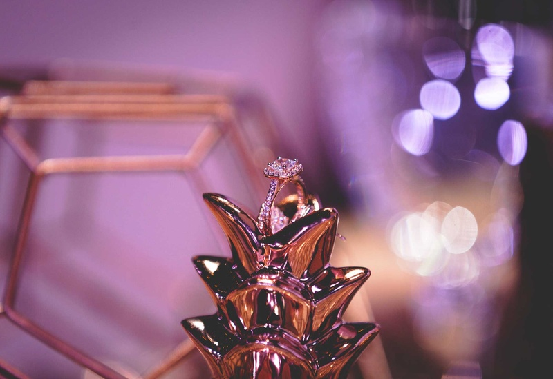 halo engagement ring glass pineapple round cushion purple wedding styled shoot metallic details