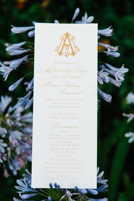 Wedding ceremony program gold monogram with calligraphy and music selections modern tunes